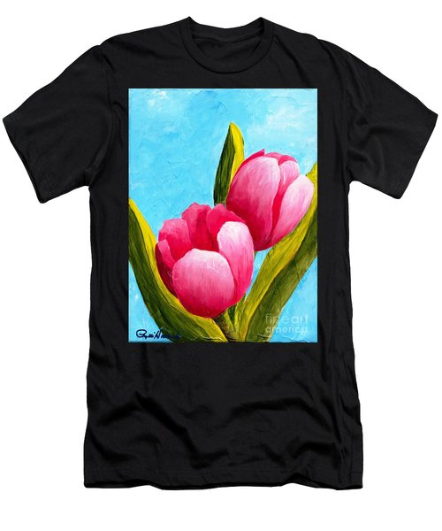 Pink Bubblegum Tulips I Men's T-Shirt (Athletic Fit)