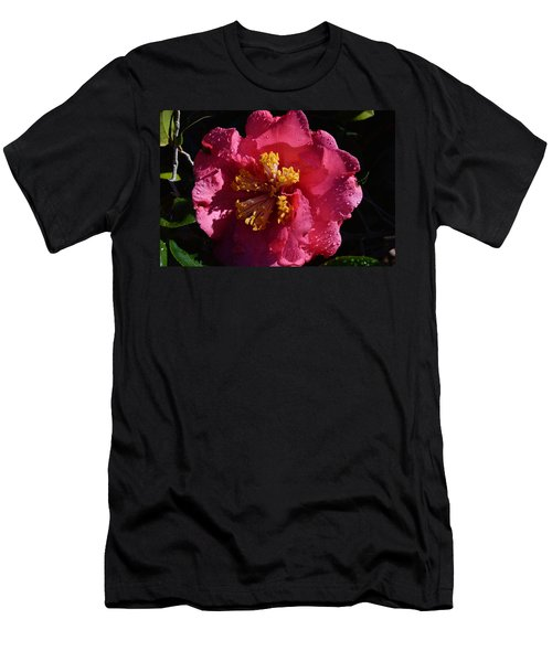 Pink Camillia With Raindrops Men's T-Shirt (Athletic Fit)