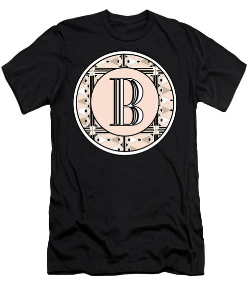 Pink Champagne Deco Monogram  B Men's T-Shirt (Athletic Fit)