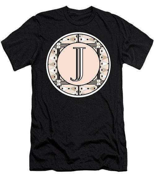 Pink Champagne Deco Monogram  J Men's T-Shirt (Athletic Fit)