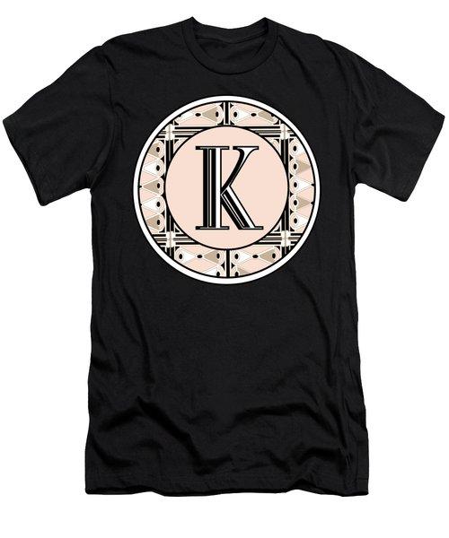 Pink Champagne Deco Monogram  K Men's T-Shirt (Athletic Fit)