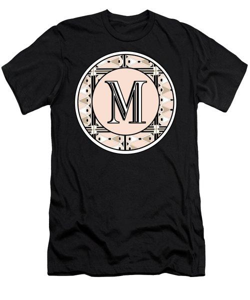Pink Champagne Deco Monogram  M Men's T-Shirt (Athletic Fit)