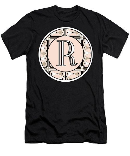 Pink Champagne Deco Monogram  R Men's T-Shirt (Athletic Fit)