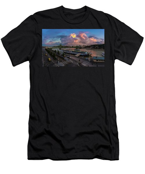 Pink Clouds Above The Danube, Budapest Men's T-Shirt (Athletic Fit)