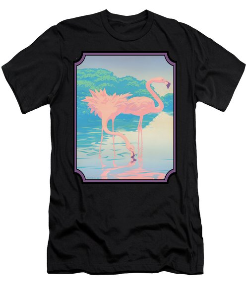 Pink Flamingos Abstract Retro Pop Art Nouveau Tropical Bird Art 80s 1980s Florida Decor Men's T-Shirt (Athletic Fit)