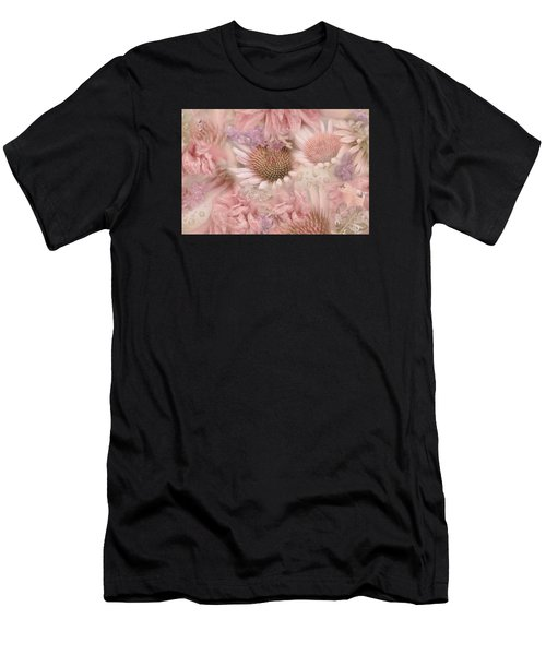 Pink Floral Montage Men's T-Shirt (Athletic Fit)
