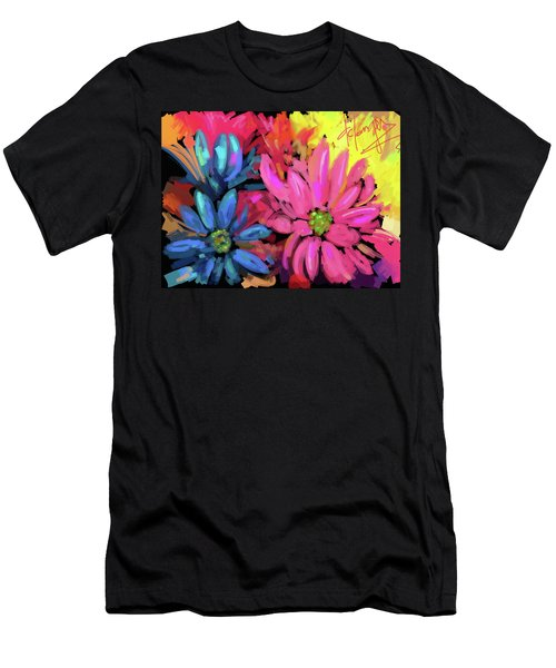 Men's T-Shirt (Slim Fit) featuring the painting Pink Flower by DC Langer