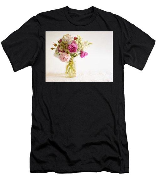 Pink Flowers Men's T-Shirt (Athletic Fit)