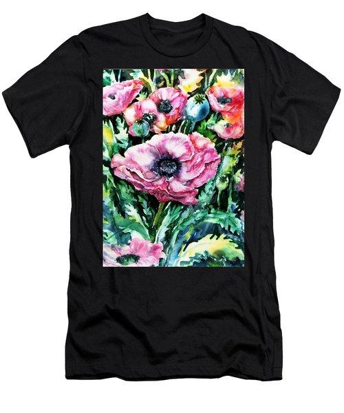 Pink Garden Poppies  Men's T-Shirt (Slim Fit) by Trudi Doyle