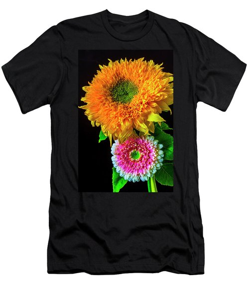 Pink Gerbera Daisy And Sunflower Men's T-Shirt (Athletic Fit)