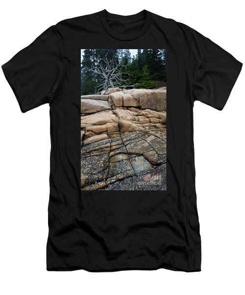 Pink Granite And Driftwood At Schoodic Peninsula In Maine  -4672 Men's T-Shirt (Athletic Fit)