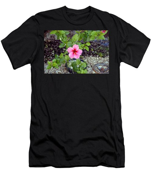 Pink Hibiscus And Wheel Men's T-Shirt (Athletic Fit)