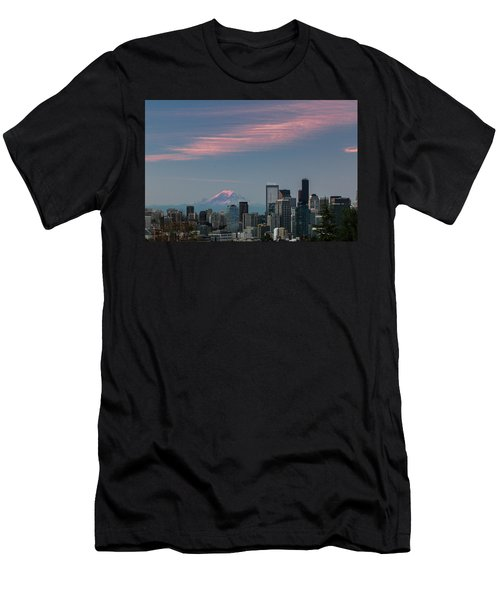Pink Highlights Over Seattle-mt. Rainier Men's T-Shirt (Athletic Fit)
