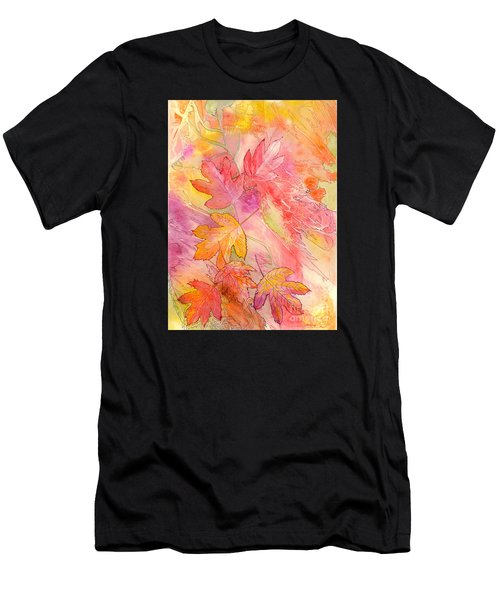 Men's T-Shirt (Athletic Fit) featuring the painting Pink Leaves by Nancy Cupp