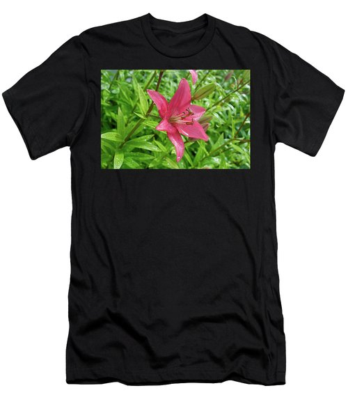 Pink Lily Flowers By Tamara Sushko  Men's T-Shirt (Athletic Fit)