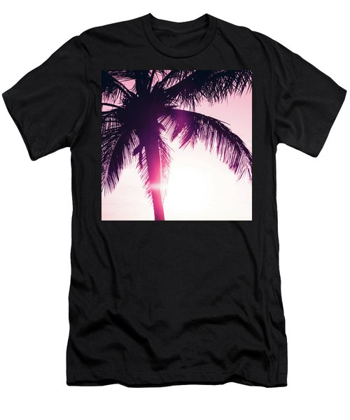 Men's T-Shirt (Athletic Fit) featuring the photograph Pink Palm Tree Silhouettes Kihei Tropical Nights by Sharon Mau
