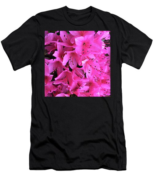 Men's T-Shirt (Slim Fit) featuring the photograph Pink Passion In The Rain by Sherry Hallemeier