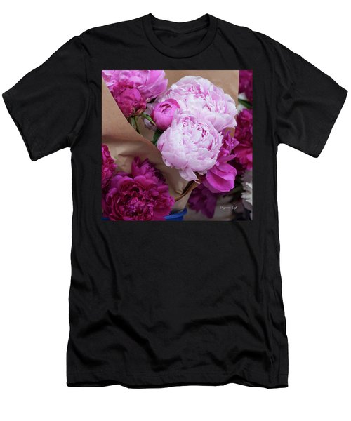 Pink Peonies Squared Men's T-Shirt (Athletic Fit)