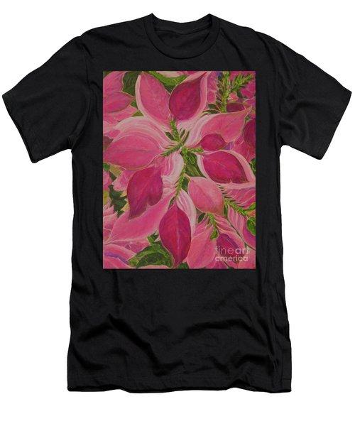 Pink Poinsettia Men's T-Shirt (Athletic Fit)