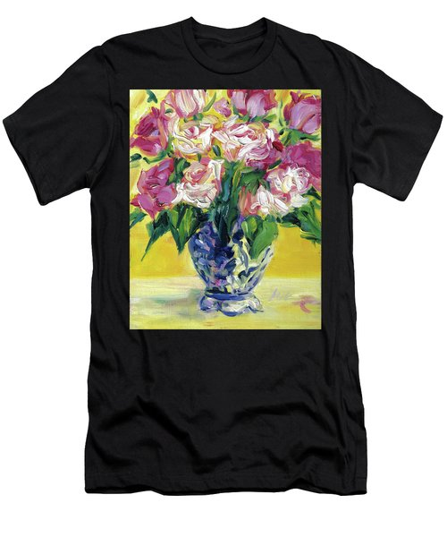 Pink Roses In Blue Deft Vase Men's T-Shirt (Athletic Fit)