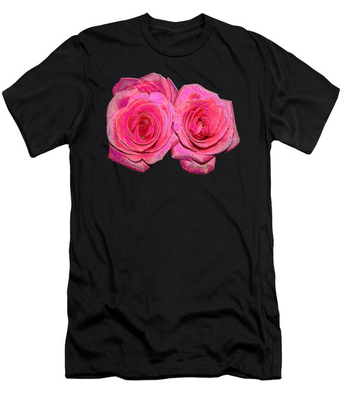 Pink Roses With Enameled Effects Men's T-Shirt (Athletic Fit)