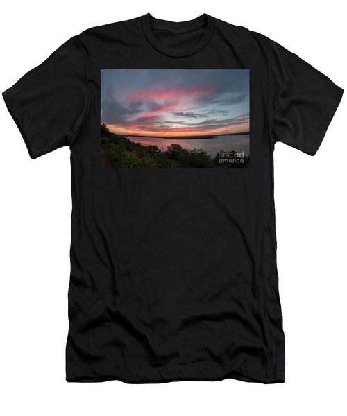 Pink Skies And Clouds At Sunset Over Lake Travis In Austin Texas Men's T-Shirt (Athletic Fit)