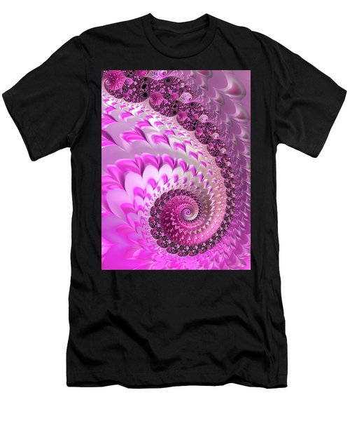 Pink Spiral With Lovely Hearts Men's T-Shirt (Athletic Fit)