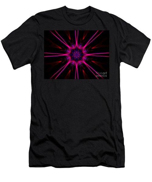 Pink Starburst Fractal  Men's T-Shirt (Athletic Fit)