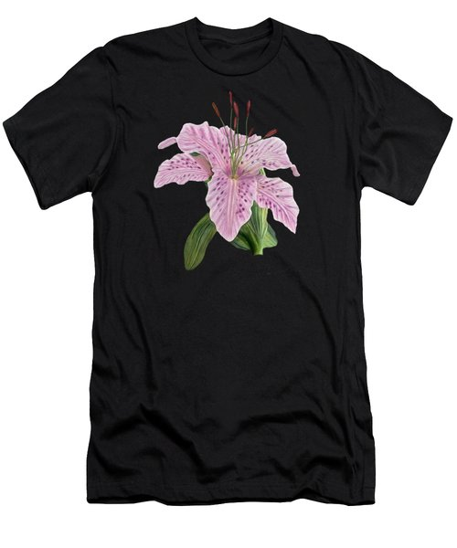 Men's T-Shirt (Slim Fit) featuring the digital art Pink Tiger Lily Blossom by Walter Colvin