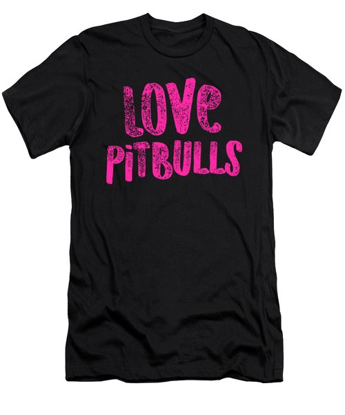 Pit Bull Love Pitbulls Pink American Bully Gift Light Men's T-Shirt (Athletic Fit)