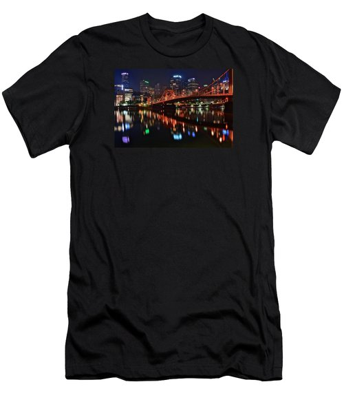Pittsburgh Lights Men's T-Shirt (Slim Fit) by Frozen in Time Fine Art Photography