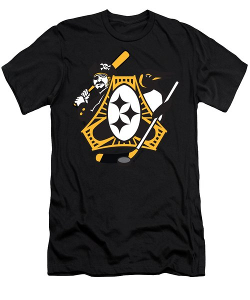 Pittsburgh-three Rivers Roar Sports Fan Crest Men's T-Shirt (Athletic Fit)