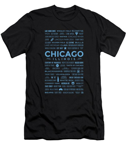 Places Of Chicago Blue On Black Men's T-Shirt (Slim Fit) by Christopher Arndt