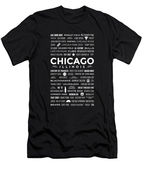 Men's T-Shirt (Athletic Fit) featuring the digital art Places Of Chicago On Black Chalkboard by Christopher Arndt