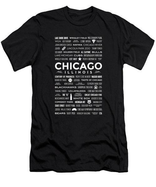 Places Of Chicago On Blue Chalkboard Men's T-Shirt (Athletic Fit)