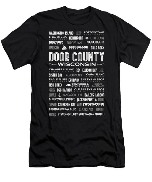 Places Of Door County On Black Men's T-Shirt (Athletic Fit)