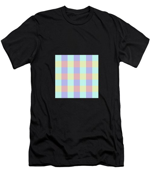 Plaid Blue Soft Yellow Rose Blush Lavender Cyan Tetradic Colour Blocks Men's T-Shirt (Athletic Fit)