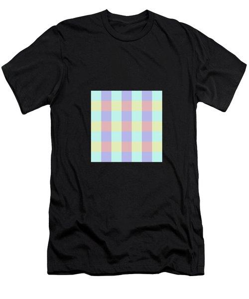 Plaid Blue Soft Yellow Rose Blush Lavender Cyan Tetradic Colour Blocks Men's T-Shirt (Athletic Fit)
