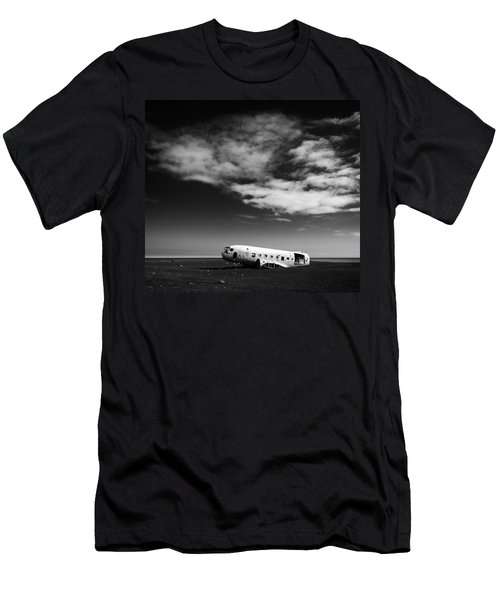 Men's T-Shirt (Athletic Fit) featuring the photograph Plane Wreck Black And White Iceland by Matthias Hauser