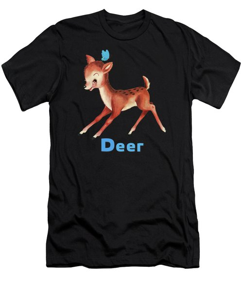 Playful Baby Deer Pattern Men's T-Shirt (Athletic Fit)