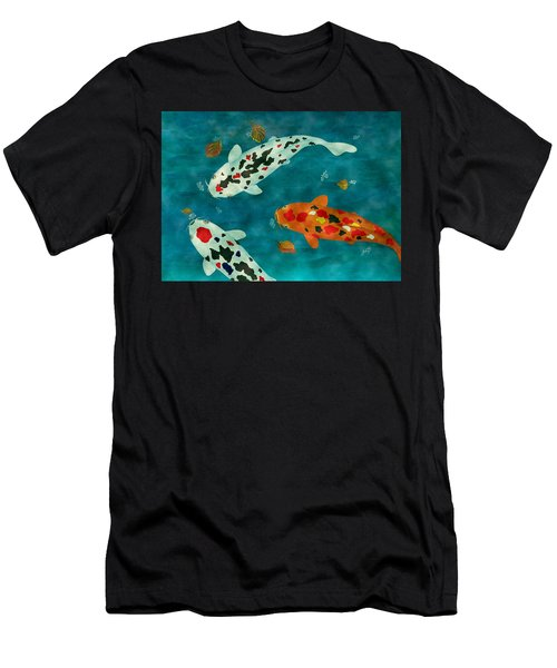 Men's T-Shirt (Athletic Fit) featuring the painting Playful Koi Fishes Original Acrylic Painting by Georgeta Blanaru