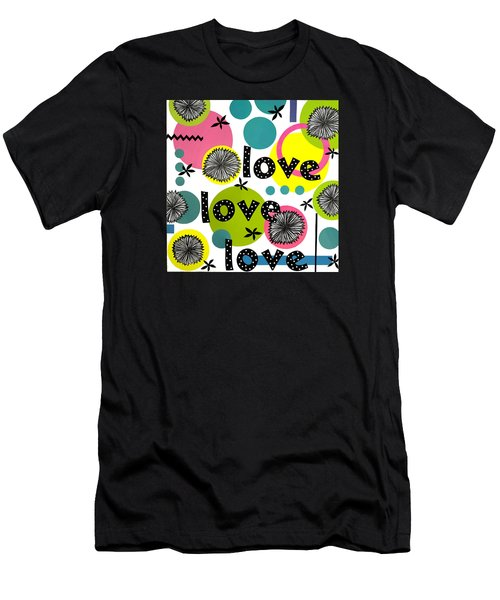 Men's T-Shirt (Slim Fit) featuring the mixed media Playful Love by Gloria Rothrock