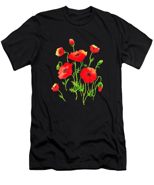 Playful Poppy Flowers Men's T-Shirt (Athletic Fit)