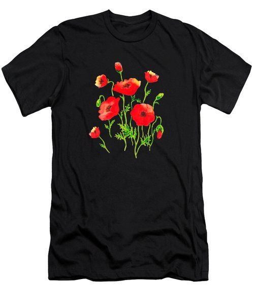 Playful Poppy Flowers Men's T-Shirt (Athletic Fit)