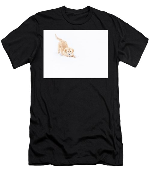 Playful Puppy In So Much Snow Men's T-Shirt (Athletic Fit)