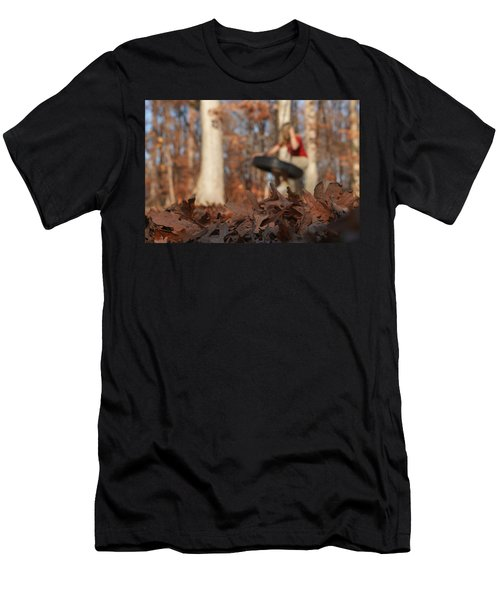 Men's T-Shirt (Athletic Fit) featuring the photograph Playing On The Tire Swing by Greg Collins