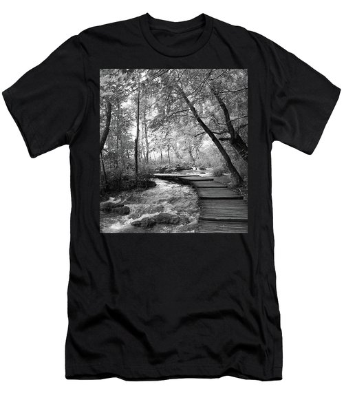 Plitvice In Black And White Men's T-Shirt (Athletic Fit)