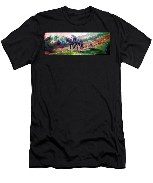 Men's T-Shirt (Slim Fit) featuring the painting Ploughing by Paul Weerasekera