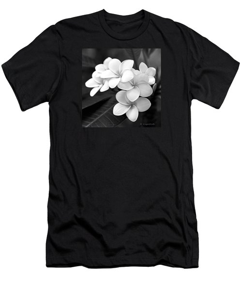 Plumeria - Black And White Men's T-Shirt (Slim Fit) by Kerri Ligatich