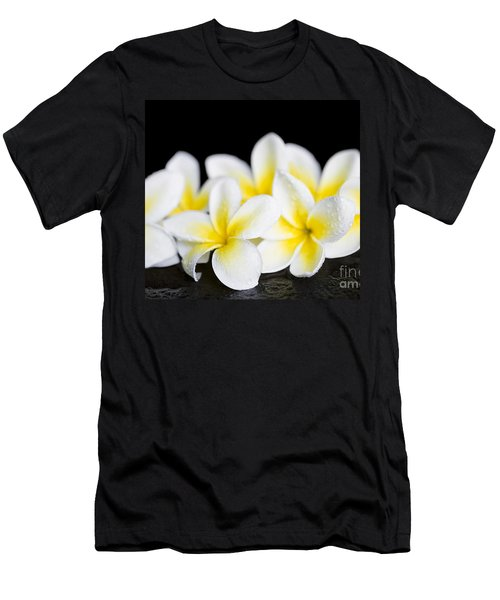 Men's T-Shirt (Athletic Fit) featuring the photograph Plumeria Obtusa Singapore White by Sharon Mau